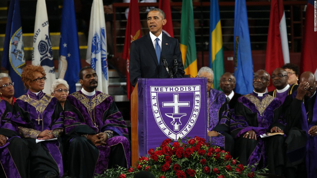 "President Barack Obama delivers the eulogy for South Carolina state Sen. Clementa Pinckney on Friday, June 26. Pinckney was a pastor at the Charleston, South Carolina, church where <a href=""http://www.cnn.com/2015/06/18/us/gallery/charleston-south-carolina-church-shooting/index.html"" target=""_blank"">he and eight other people were fatally shot</a> on June 17. Pinckney was 41 years old. ""We are here today to remember a man of God who lived by faith,"" Obama said. ""A man who believed in things not seen. A man who believed there were better days ahead, off in the distance. A man of service who persevered knowing full well he would not receive all those things he was promised, because he believed his efforts would provide a better life for those who followed."""