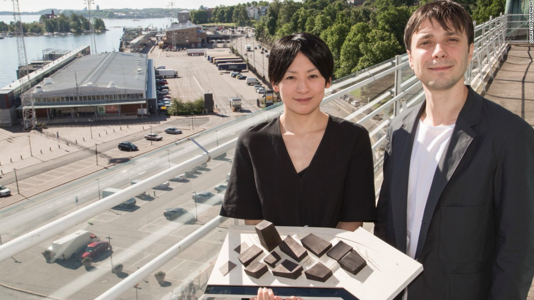 Hiroko Kusunoki and Nicolas Moreau display their winning design at the future Guggenhaim site.<br />The young designers are a change of tack for the Guggenheim brand, which had previously been built on the hand-selection of celebrity architects.