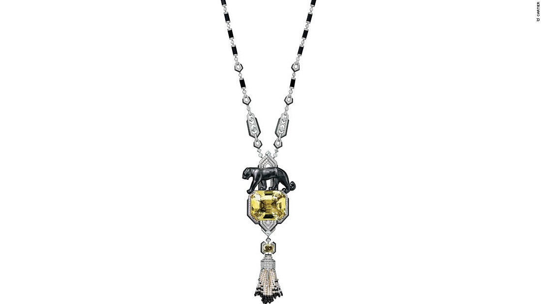 A panther necklace of platinum, diamonds, fine pearls, sapphires, black jade, onyx, and yellow beryl.