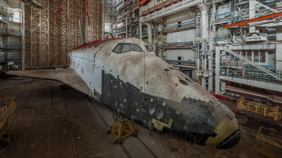 Inside a disused hanger at Baikonur Cosmodrome Kazakhstan.