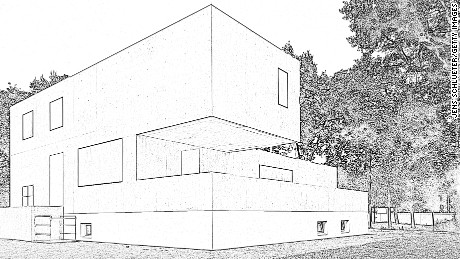 A sketch of the Gropius house, one of the seven Meisterhaeuser or Master Houses, of the Bauhaus.