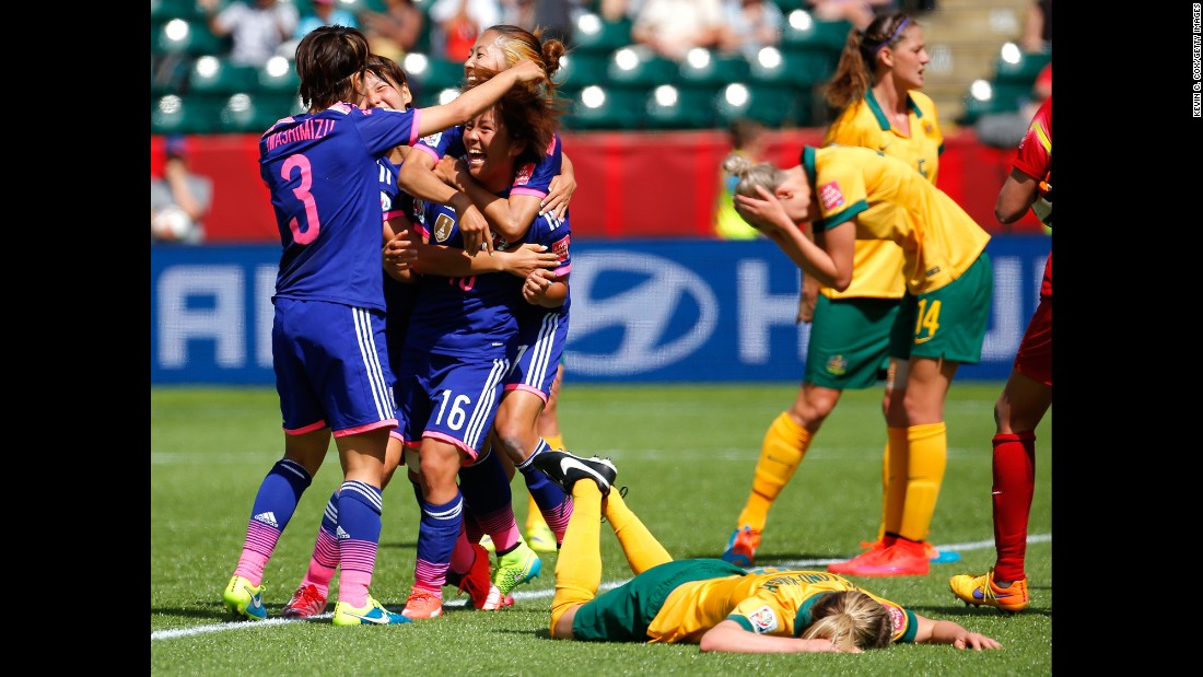 Japanese players celebrate a goal scored by Mana Iwabuchi (No. 16) during a Women's World Cup match against Australia on Saturday, June 27. It was the only goal scored in the quarterfinal match, which was played in Edmonton, Alberta. Japan won the last Women's World Cup in 2011.