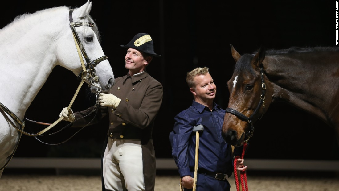 "Lee Pearson and Zion (right) with Herwig Radnetter, of the Spanish Riding School of Vienna, and his horse Pluto Sabata. Other athletes say Pearson's personality ""blows everyone else out of the water."""