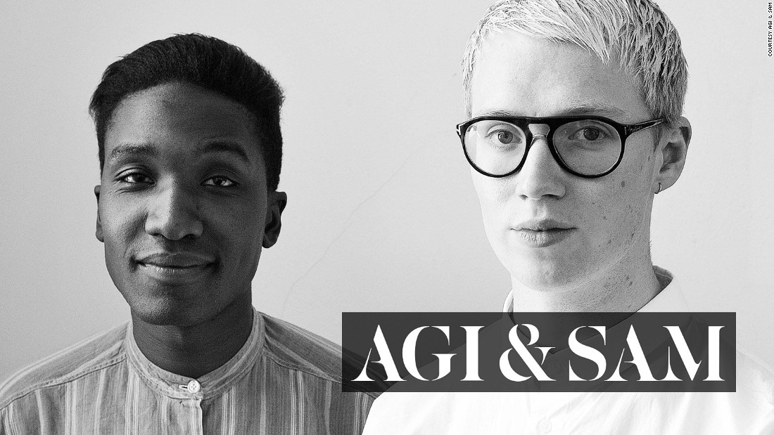 "Agape ""Agi"" Mdumulla and Sam Cotton, the two twenty-something Londoners behind <a href=""http://www.agiandsam.com/"" target=""_blank"">Agi & Sam</a>, have drawn the attention and support of <a href=""http://www.paulsmith.co.uk/uk-en/shop/"" target=""_blank"">Paul Smith</a> and <a href=""http://www.gq-magazine.co.uk/"" target=""_blank"">British GQ</a> editor Dylan Jones with their in-your-face prints and off-beat styling. They were nominated for this year's prestigious <a href=""http://www.lvmhprize.com/"" target=""_blank"">LVMH Prize</a>."