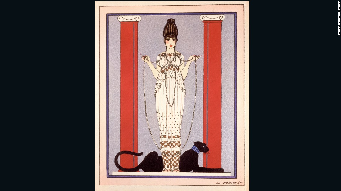 This watercolor by famed French fashion illustrator George Barbier was run as a Cartier magazine ad throughout the 1920's.