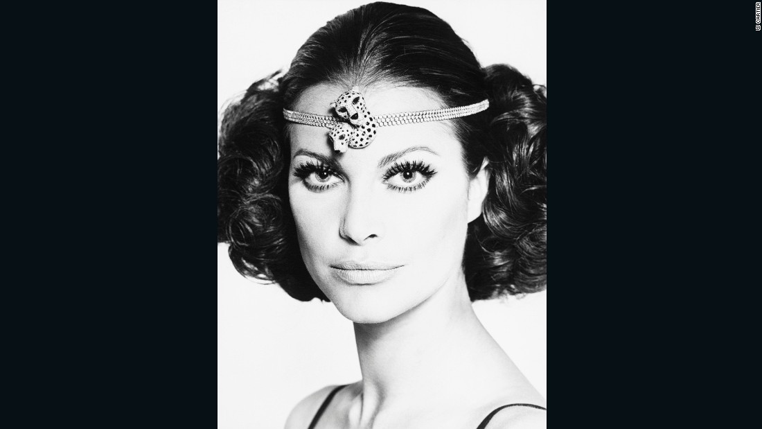 A model wears a panther headband fashioned from two panther brooches and a triple diamond line in this photo from 1967.