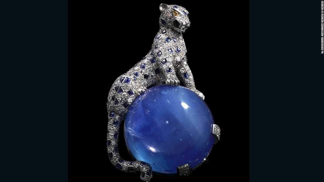 This 1949 brooch made of platinum, white gold, diamonds, and an impressive Kashmir sapphire was the second three-dimensional panther piece that Cartier made for the Duchess of Windsor. (The first was mounted on an emerald.)
