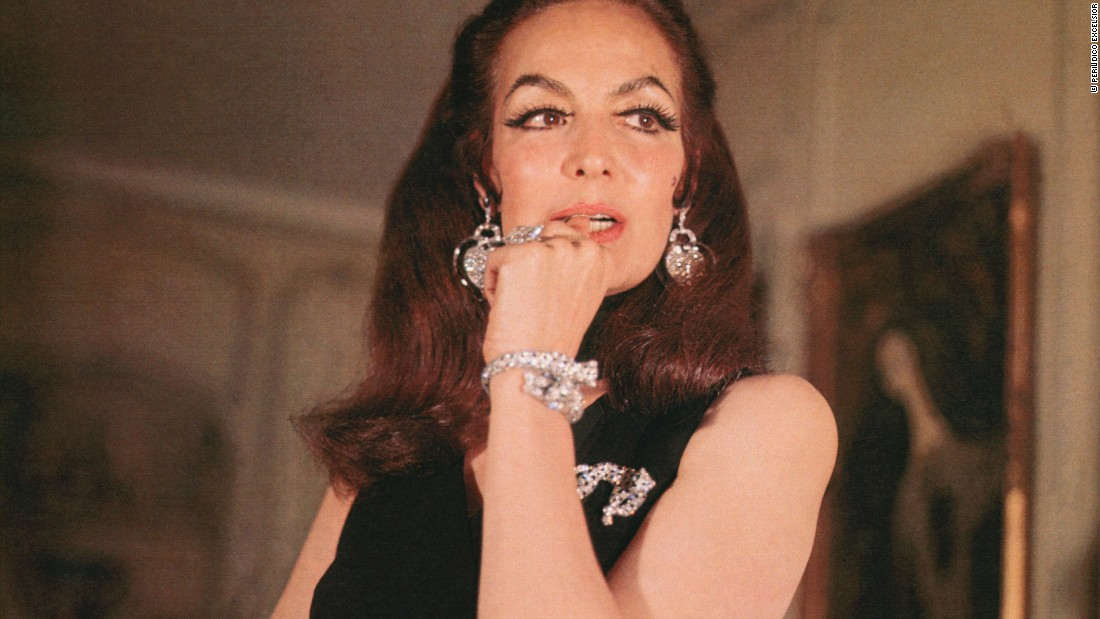 Mexican actress María Félix  seen here wearing a custom two-headed Cartier panther bangle in 1967.