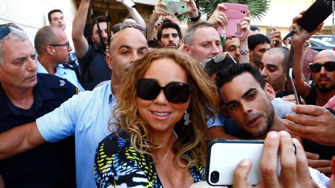 Mariah Carey meets fans at the Ben Gurion Airport in Israel on Saturday, June 27.