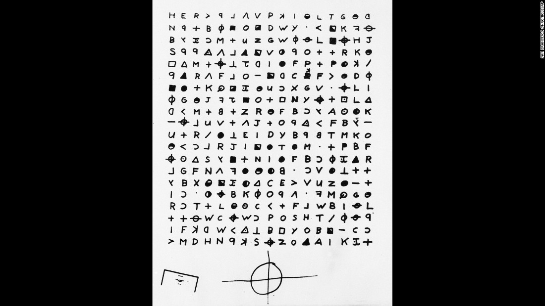 "San Francisco's ""Zodiac Killer"" was blamed for at least five murders but took credit for as many as 37 in boastful letters sent to the police, some containing swatches of bloody clothing as proof. This is a copy of a cryptogram sent to the San Francisco Chronicle by someone claiming to be the killer. <br />"