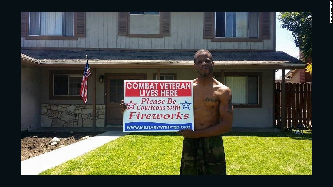 James Frazier Jr. was so excited when his sign came in the mail that he immediately took a picture to share with the Military with PTSD Facebook group.