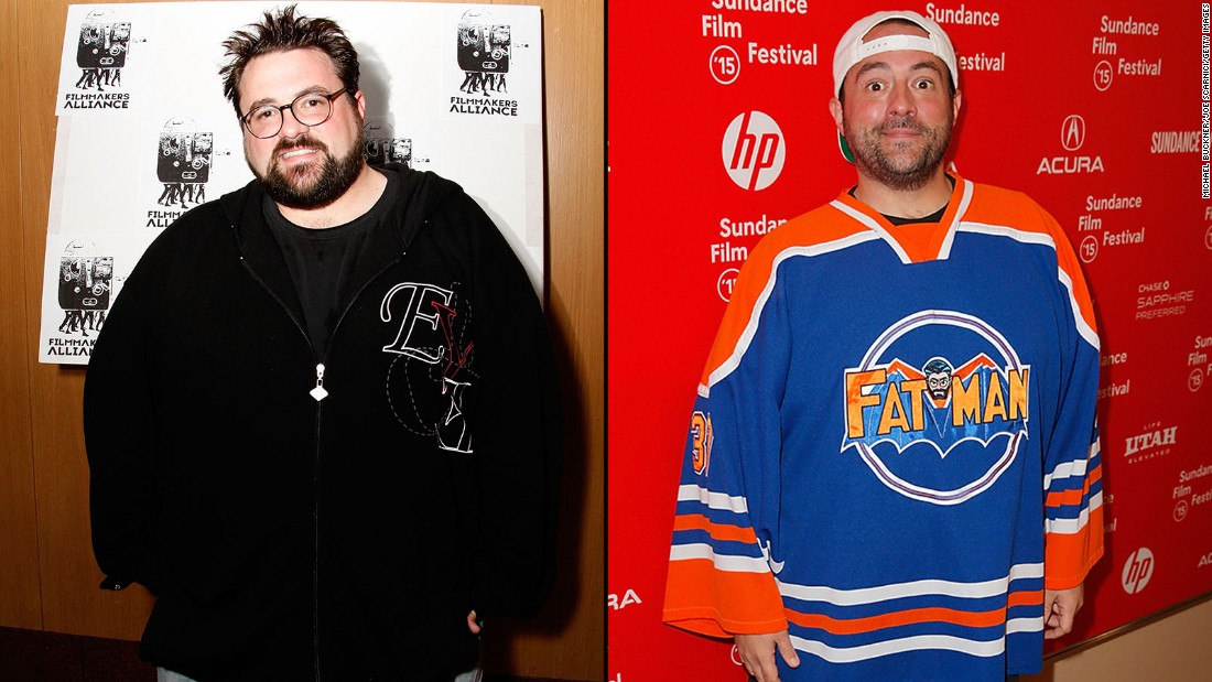 "Filmmaker Kevin Smith in 2008, left, and in 2015. The director of ""Clerks"" and other movies tweeted last June that he has lost 85 pounds. His secret? Walking 5 miles every day and giving up sugary drinks."