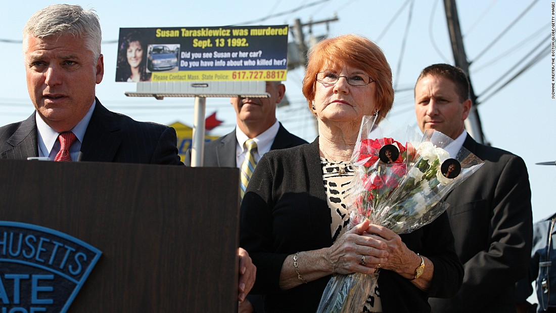 "District Attorney Daniel Conley and Marlene Taraskiewicz, mother of Susan Taraskiewicz., appear at a <a href=""http://www.suffolkdistrictattorney.com/remarks-of-suffolk-county-district-attorney-daniel-f-conley-on-the-20th-anniversary-of-the-murder-of-susan-taraskiewicz/"" target=""_blank"">press conference</a> on the status of the case in 2012. Susan's body was found in the trunk of her car in 1993."