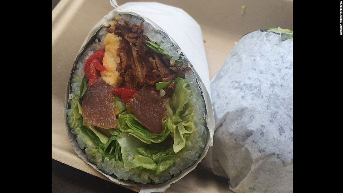 Crispy chicken, oven-roasted pork belly and spicy Japanese eggplant are among the options you can toss into your sushi burrito at San Francisco's Sushirrito. Instead of a traditional tortilla, it's wrapped in seaweed and rice.