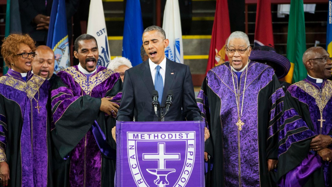 "U.S. President Barack Obama sings ""Amazing Grace"" during services honoring the life of South Carolina state Sen. Clementa Pinckney on Friday, June 26. Pinckney was one of the nine people <a href=""http://www.cnn.com/2015/06/24/us/charleston-church-shooting-main/"" target=""_blank"">killed in a church shooting</a> last month in Charleston, South Carolina."