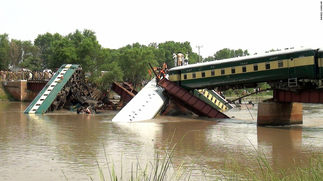 A bridge collapse caused a train to fall into a canal Thursday, July 2, in Wazirabad, Pakistan. The train was transporting Pakistani soldiers, and at least 12 of them died, officials said.