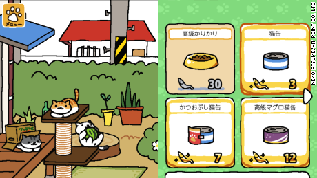As you progress through the game, you can buy fancier food and furniture to attract different cats.