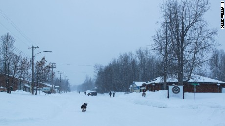 Fort Liard's main street on a December afternoon.