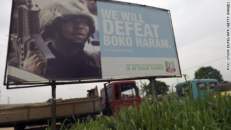 The ruling All Progressives Congress party is posting billboards in Nigeria, trumpeting its effort to defeat the Boko Haram Islamists.