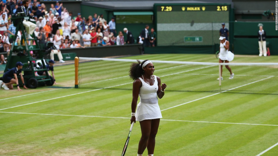 Williams clinched victory with a fierce backhand that caught the line on Center Court. Watson challenged but was proved incorrect.