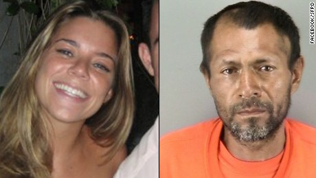 Kate Steinle and the man suspected in her death, Juan Francisco Lopez-Sanchez