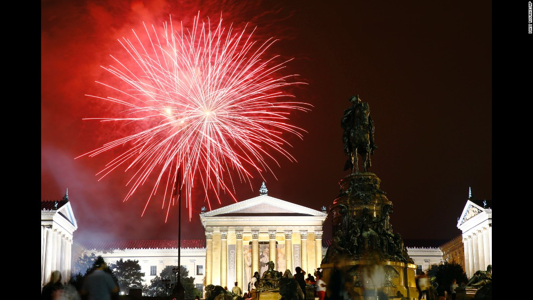 Fireworks explode over the Philadelphia Museum of Art during an Independence Day celebration on Saturday.
