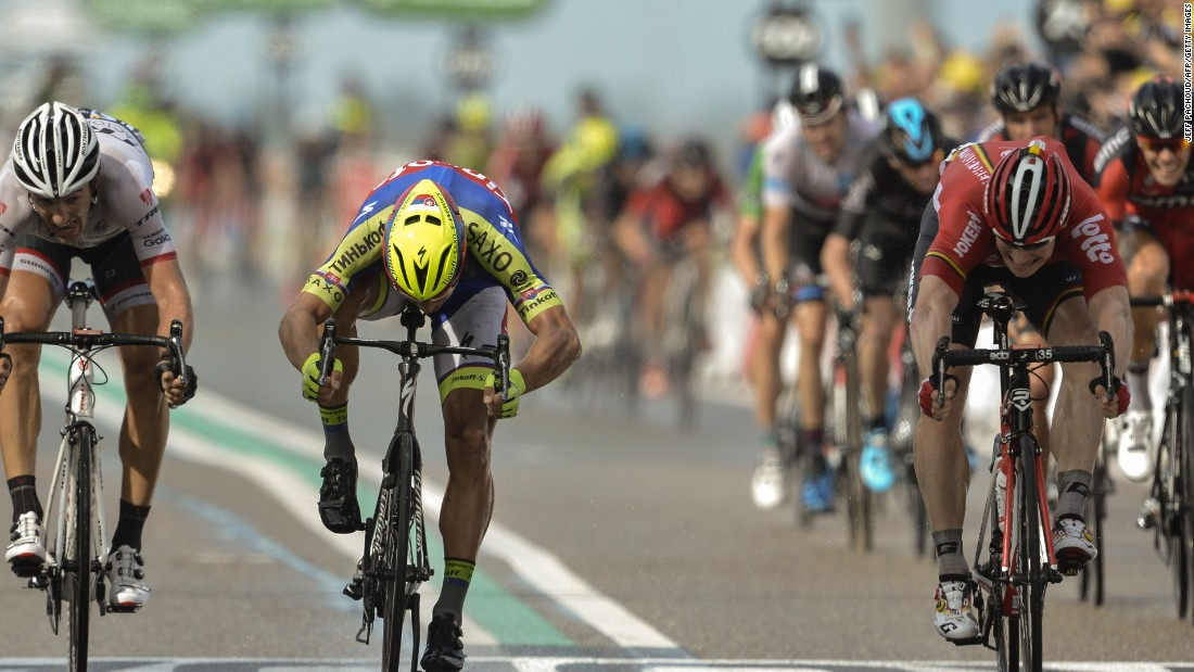 Andre Greipel (right) wins the second stage of the 2015 Tour ahead of Peter Sagan (center) and Fabian Cancellara (left). Greipel and Sagan will again be battling it out for the green jersey.