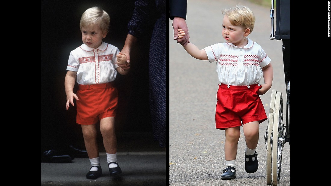 Royal watchers might recognize Prince George's outfit. It's very similar to the one worn by his father, Prince William, when he visited his newborn brother, Prince Harry, on September 16, 1984. Prince William is on the left in the photo above. Prince George is on the right.