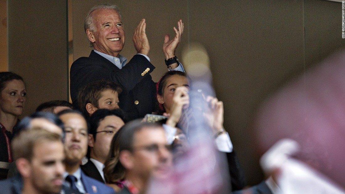 U.S. Vice President Joe Biden cheers on Team USA during the game in Vancouver.