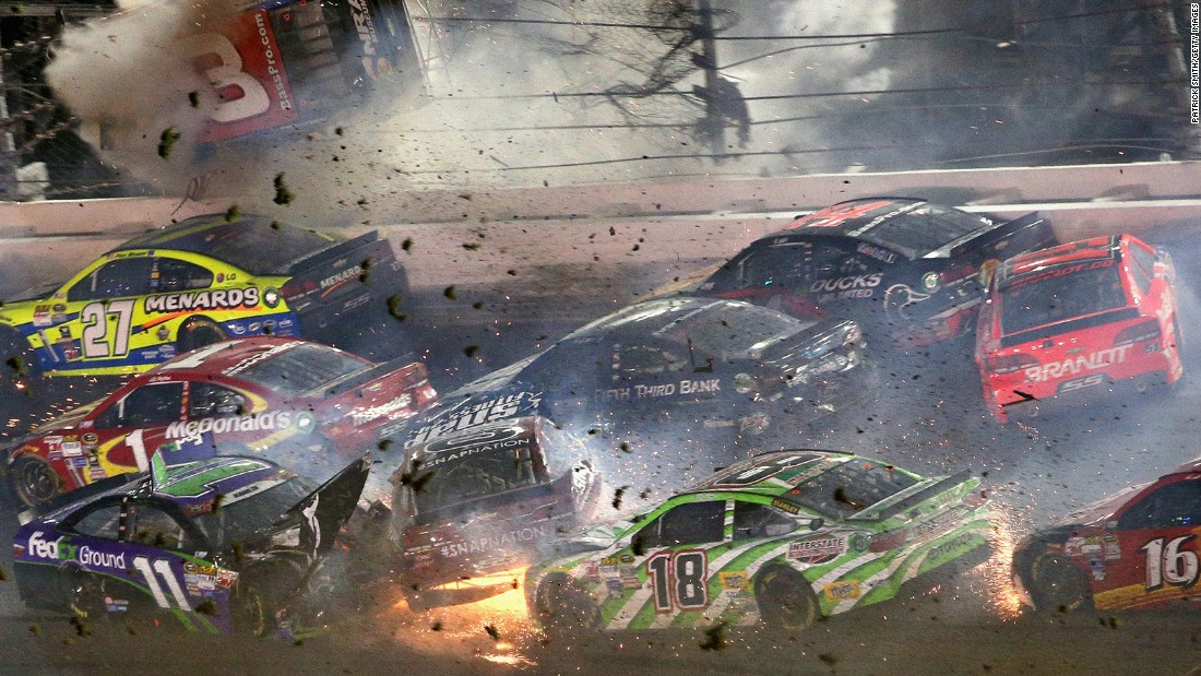 "Austin Dillon, driver of the No. 3 Chevrolet,<a href=""http://www.cnn.com/2015/07/06/us/daytona-race-crash/index.html""> slams into the catch fence </a>during the final lap of the NASCAR Coke Zero 400 at Daytona International Speedway in Daytona Beach, Florida, early on Monday, July 6. One spectator was sent to the hospital with injuries. Dillon walked away from the wreck."