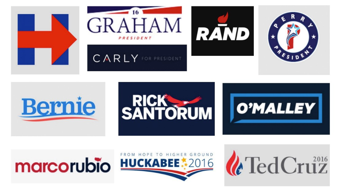 Presidential logos can mean different things to different people. Sky Hartman, a brand designer who created Ron Paul's 2012 logo, and Ben Ostrower, a designer who worked on Bernie Sanders' logo, review some of the 2016 presidential logos.