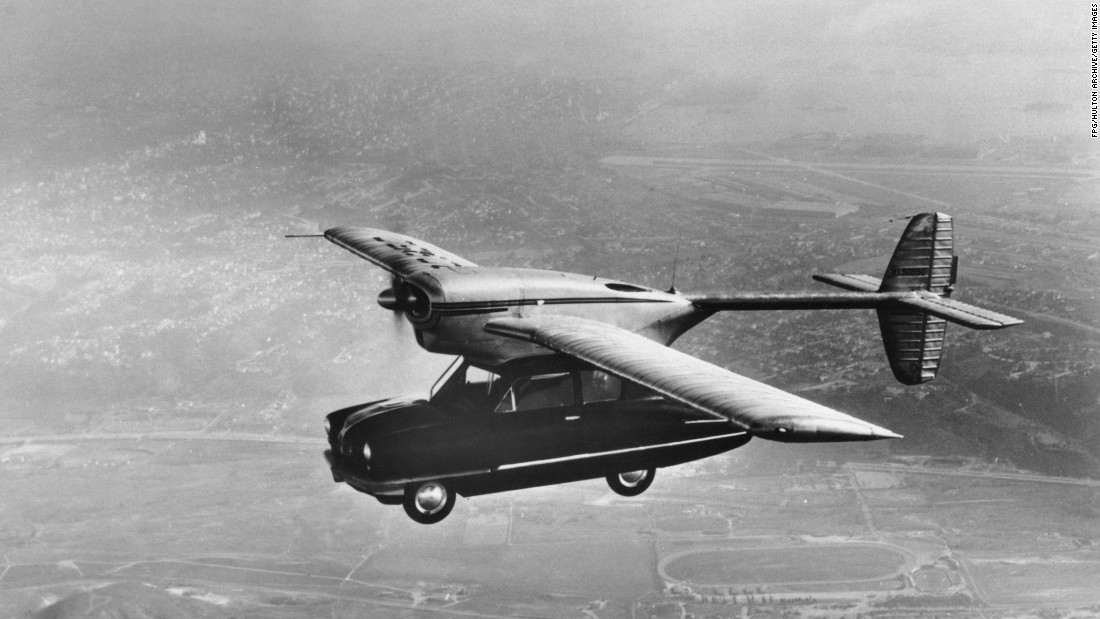 Believe it or not, flying cars have been in existence since the 40s. The Convair Model 118 made a test flight in 1947. Alas, the hybrid vehicle never went into production after its one-hour demonstration flight, in which it had a crash landing due to low fuel, destroying the car body.