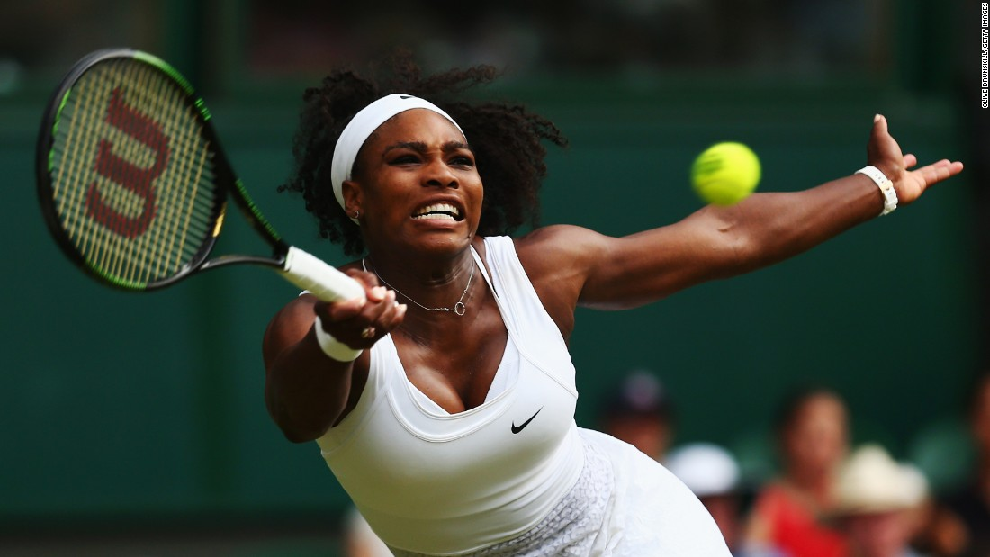 Serena Williams stretches for a forehand while playing Timea Babos in the second round of Wimbledon on Wednesday, July 1. Williams, the world's top-ranked player, won in straight sets. She is looking to win her sixth Wimbledon title and her fourth Grand Slam title in a row.