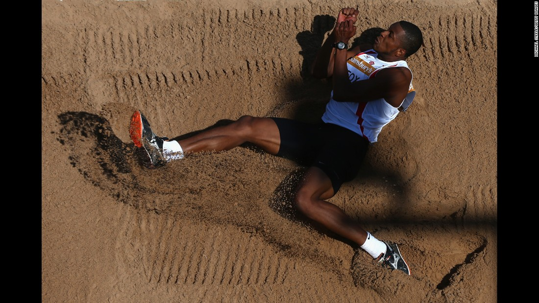 Nathan Fox competes in the triple jump Saturday, July 4, at the British Championships in Birmingham, England.