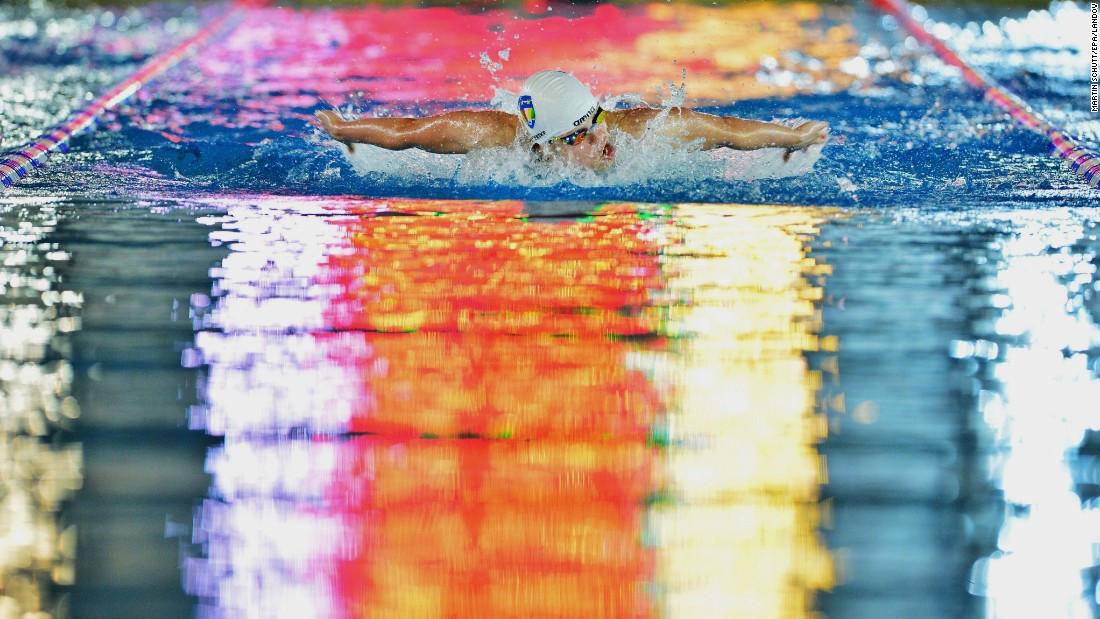 Franziska Hentke sets a German record in the 200-meter butterfly while swimming in Essen, Germany, on Friday, July 3.  She finished the race in 2 minutes and 5.26 seconds.