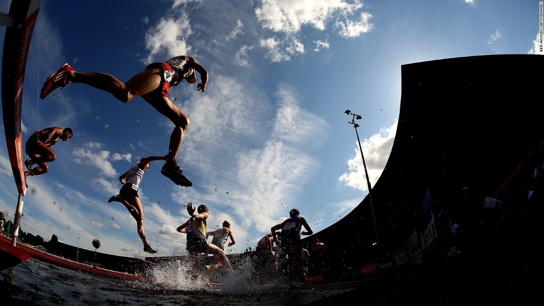 Men compete in the 3,000-meter steeplechase during the British Championships on Saturday, July 4.
