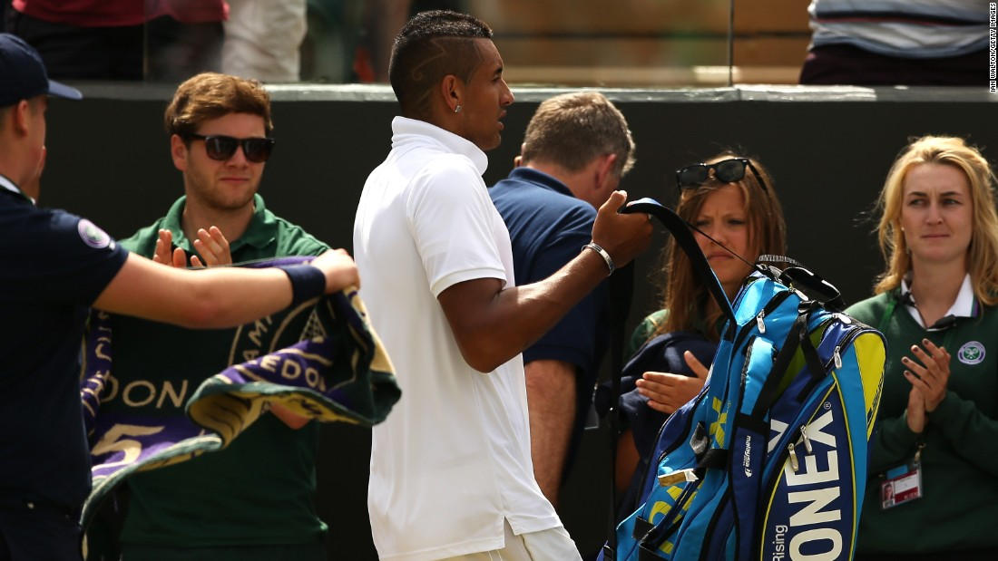 Although he rallied to take the fourth set, Kyrgios ultimately lost the fourth-round match 7-5 6-1 6-7 (7-9) 7-6 (8-6). Kyrgios was fined a total of $9,500 at Wimbledon.