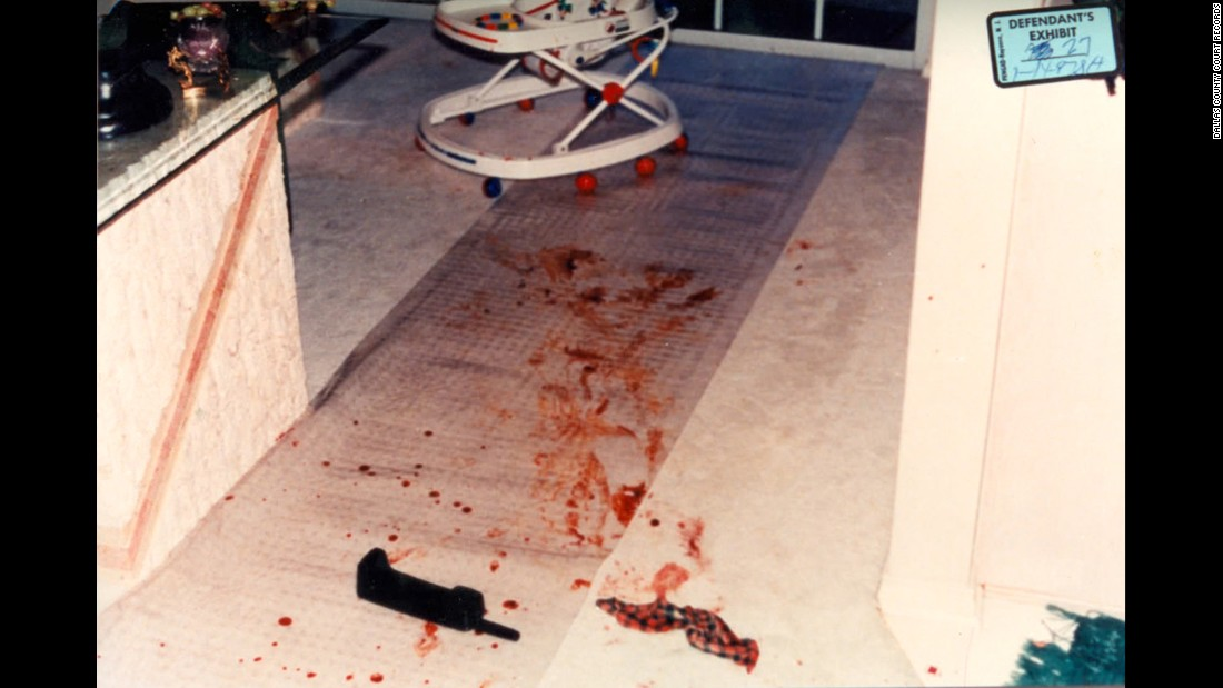 "A photo of the crime scene shows the cordless telephone Darlie Routier used to call 911 on the night of the attacks. The 911 recording and the duration of the call (five minutes and 42 seconds) were key pieces of evidence during the trial. <br /><br />Appellate lawyer Stephen Cooper would later argue that given the length of time Routier was on the phone with 911, the prosecution's timeline of events was flawed: One piece of evidence was a sock with both boys' blood on it that was found in an alley 75 yards away from the house.<br /><br />""There is not but a couple of minutes for her to stab and kill the children, cut the screen, get this sock and run it down the alley in the dark through a gate that doesn't really work very well, (and) come back,"" Cooper said."