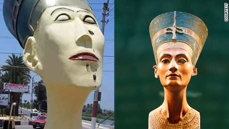 The statue of Nefertiti erected outside an Egyptian town is a far cry from the 3,400-year-old figurine on display in a Berlin museum.