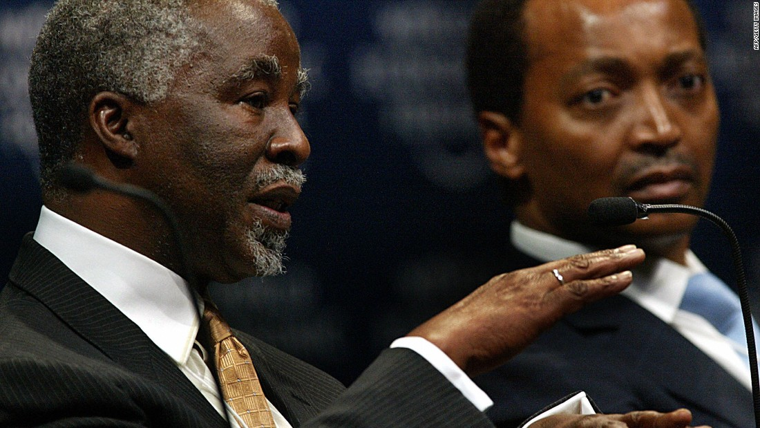 Pictured here next to former South African President Thabo Mbeki, Motsepe sits on the boards of several mining companies, including Harmony Gold, the 12th largest in the world.
