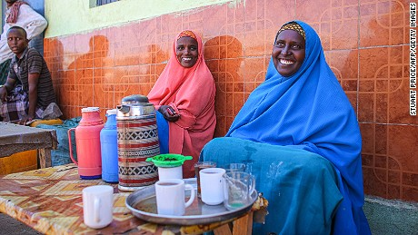 This handout photograph taken and released by the African Union-United Nations Information Support team on February 27, 2012 shows women selling tea in the central Somali town of Buur-Hakba.