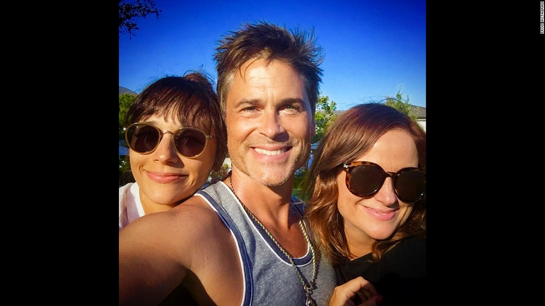 "Actor Rob Lowe takes a selfie with his former ""Parks and Recreation"" co-stars Rashida Jones, left, and Amy Poehler on Saturday, July 4. ""Chris and Ann had Leslie over for a #HappyFourth,"" <a href=""https://instagram.com/p/4vHS_zEqip/"" target=""_blank"">Lowe said,</a> referring to their characters on the television show."