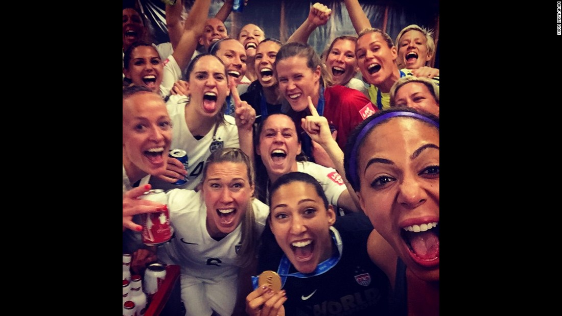 "The U.S. soccer team celebrates together after winning the Women's World Cup on Sunday, July 5. ""World Champions!!"" <a href=""https://instagram.com/p/4xwePQrJvW/"" target=""_blank"">forward Christen Press said on Instagram.</a> She's at bottom holding the medal."