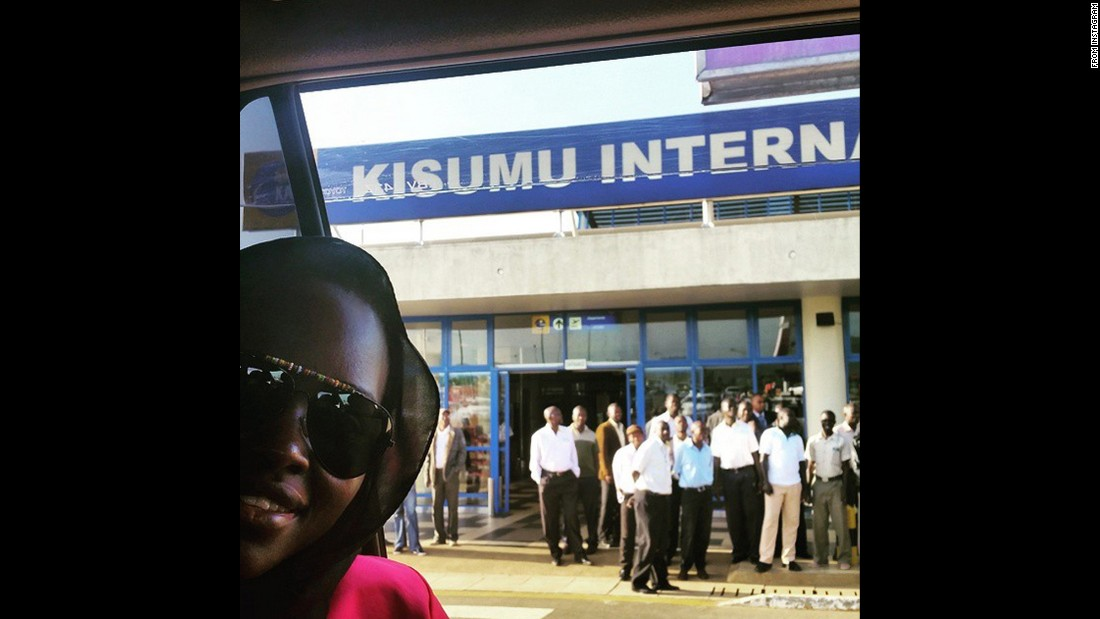 "Actress Lupita Nyong'o snaps a selfie in front of an airport in Kisumu, Kenya, on Wednesday, July 1. ""Back to the roots, to my ancestral home,"" <a href=""https://instagram.com/p/4m42IhnuWO/"" target=""_blank"">she wrote on Instagram.</a>"