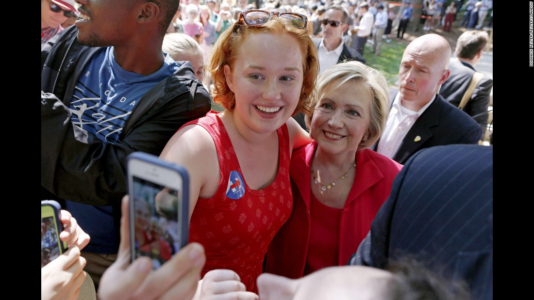 Democratic presidential candidate Hillary Clinton stops for a selfie in Hanover, New Hampshire, on Friday, July 3.