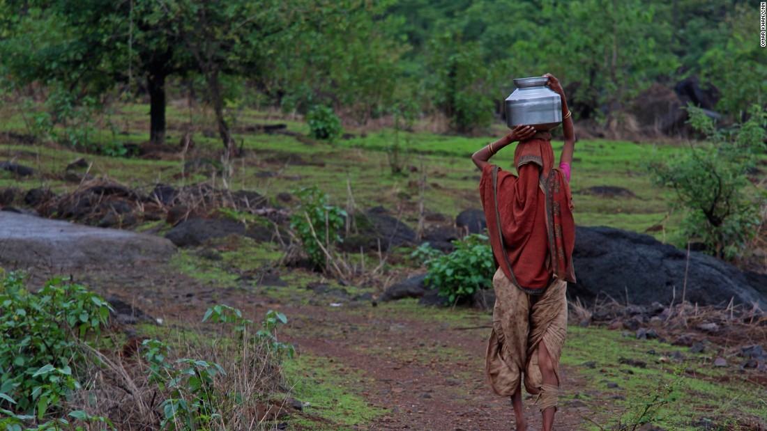 The women have to walk long distances for water, traveling up to 10 kilometers (6.2 miles) a day. The terrain is uneven and marked with steep climbs. Women from the villages of Maharashtra spend hours each day getting water.