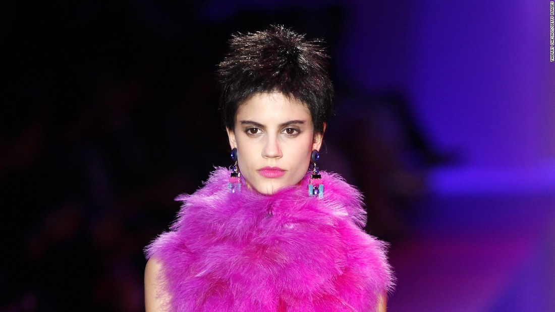 "While you would never call couture ""DIY,"" there was a nod to (pink) punk attitude on the runway at this season's Armani Privé AW15 show during Paris Couture Week (July 5 to July 9)."