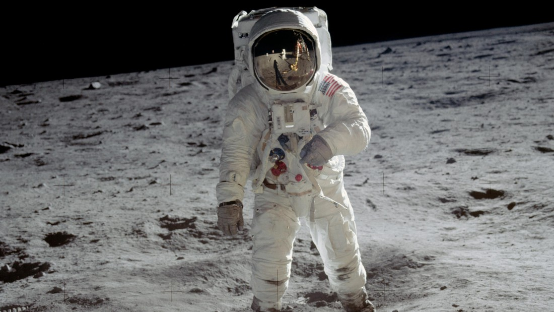 Astronaut Buzz Aldrin walks on the surface of the moon near the leg of the lunar module Eagle during the Apollo 11 mission. Mission commander Neil Armstrong took this photograph with a 70mm lunar surface camera. While astronauts Armstrong and Aldrin explored the Sea of Tranquility region of the moon, astronaut Michael Collin remained with the comma