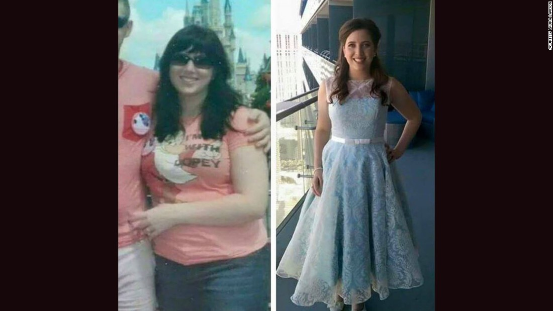 Before beginning her bucket list, Lawson was overweight and eating junk food. Being so active helped her lose weight and fit into a wedding dress that was three sizes smaller than her photo on the left.