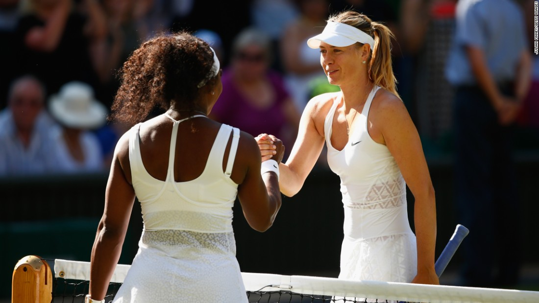 It's 17 straight victories for Williams over Sharapova. Sharapova's victory over Williams in the 2004 final remains the only time, too, she has defeated Williams at the All England Club.